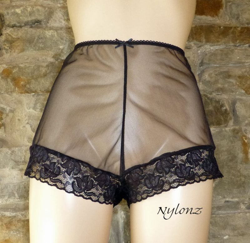 See Thru Sheer Gusset Nylon French Knickers - Black